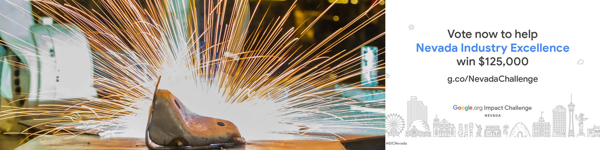 picture of a welder welding metal with sparks flying